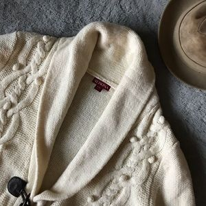 Mernoa Cream Cable Knit Sweater Cardigan